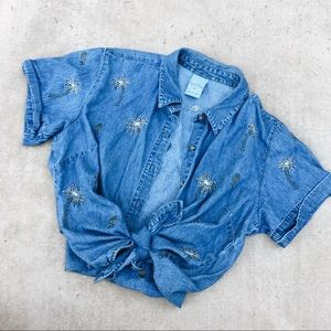 Palm Desert Button Up Vintage Embroiled Blouse